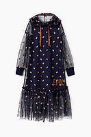 Детское для девочек осеннее трикотажное синее нарядное платье Bell Bimbo 202211 т.синий 134-68р.