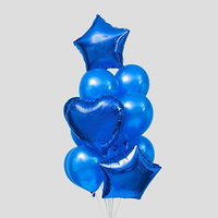Букет из шаров 'Сердца и звёзды', латекс, фольга, набор 14 шт., цвет синий