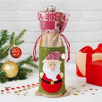 Одежда на бутылку 'Дед Мороз', шапочка с рисунком, цвета МИКС