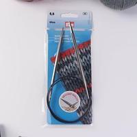 Спицы для вязания, круговые, с пластиковой леской, d 5,5 мм, 80 см