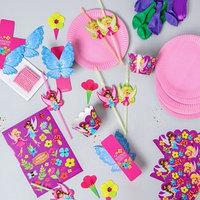 Набор для оформления праздника 'Феи', воздушные шары, тарелки, свечи, формочки, топперы, наклейки, трубочки