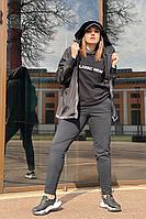 Женский осенний трикотажный черный спортивный большого размера спортивный костюм Runella 1419 черный 48р.