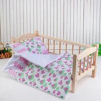 Постельное бельё для кукол 'Царевна лягушка на белом', простынь, одеяло, подушка