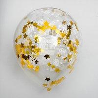 Воздушные шары с конфетти 12' 'С днем рождения', набор 5 шт, золото