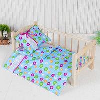 Постельное бельё для кукол 'Горох на голубом', простынь, одеяло, подушка