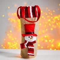 Одежда на бутылку 'Снеговик в шарфе', с ручками