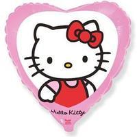Шар фольгированный 18' Hello Kitty 'Котёнок с бантиком', сердце, 1 шт. в упаковке, розовый