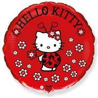 Шар фольгированный 18' Hello Kitty 'Котёнок. Божья коровка', круг, 1 шт. в упаковке, красный