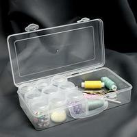 Контейнер для рукоделия, со съёмными ячейками, 4 отделения, 9 баночек, d 4 x 6 см, 20 гр, цвет прозрачный