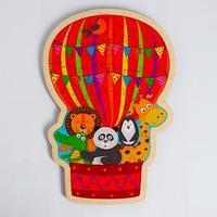 Пазл - вкладыш в рамке 'Воздушный шар с животными' 31x21 см
