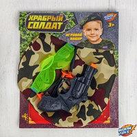 Игровой набор оружия, с головным убором 'Храбрый солдат' (пистолет, очки, берет, присоски 3 шт.)