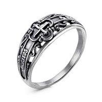 Кольцо 'Спаси и сохрани' с крестом, посеребрение с оксидированием, 18 размер