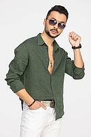 Мужская осенняя льняная зеленая деловая большого размера рубашка Cool Flax КФР001 зеленый 46р.