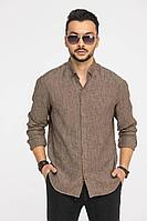 Мужская осенняя льняная коричневая деловая рубашка Cool Flax КФР001 коричневый 46р.