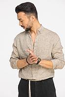 Мужская осенняя льняная бежевая деловая большого размера рубашка Cool Flax КФР002 светло-коричневый 46р.