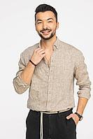 Мужская осенняя льняная коричневая деловая большого размера рубашка Cool Flax КФР001 светло-коричневый 46р.