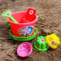 Набор для игры в песке ведро, сетка, лопата, грабли, 3 формочки, ФИКСИКИ цвет МИКС, 1,05 л