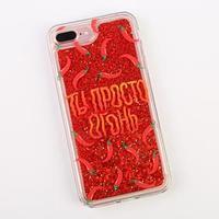 Чехол для телефона iPhone 7,8 PLUS с блёстками внутри Pepper, 7.7 x 15.8 см
