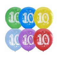Шар латексный 12' 'Цифра 10', пастель, 2-сторонний, набор 10 шт., МИКС