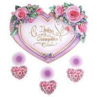 Подвесное украшение 'С Днём Свадьбы!' глиттер, розовые розы