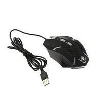 Мышь Nakatomi MOG-03U Gaming, игровая, проводная, 4 кнопки, подсветка, 1600 dpi, USB, чёрная