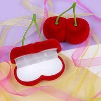 Футляр под серьги 'Вишня', 7*7*3, цвет красный, вставка белая