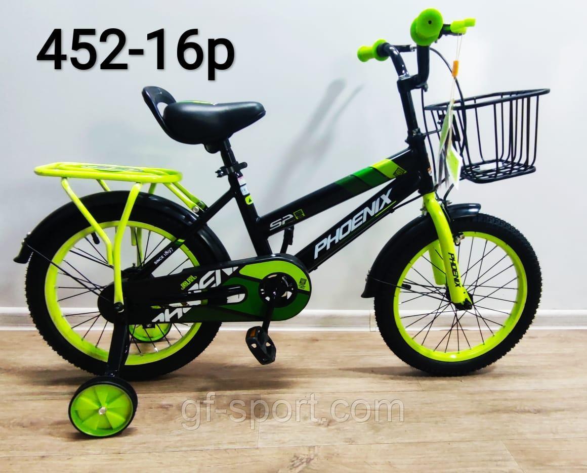 Велосипед Phoenix салатовый оригинал детский с холостым ходом 16 размер