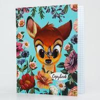 Тетрадь 48 листов в клетку, картонная обложка Disney 'Бэмби'