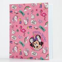 Тетрадь 48 листов в клетку, картонная обложка 'Минни Маус'