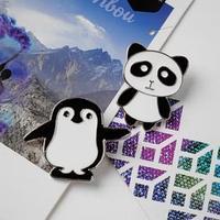 Набор значков (2шт) 'Панда и пингвин', цвет чёрно-белый в золоте