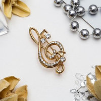 Брошь 'Скрипичный ключ' и нотки, цвет белый в золоте