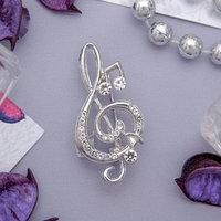 Брошь 'Скрипичный ключ' и нотки, цвет белый в серебре