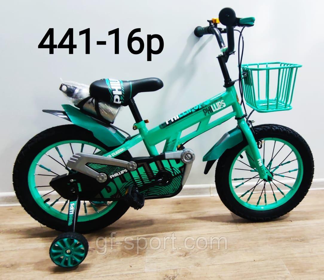 Велосипед Phillips бирюзовый алюминиевый сплав оригинал детский с холостым ходом 16 размер