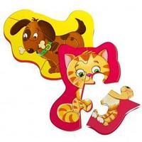 Магнитный пазл 'Котёнок и щенок', 2 картинки