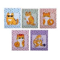 Тетрадь 48 листов в клетку 'Коты', обложка мелованный картон, блок офсет, МИКС (комплект из 5 шт.)