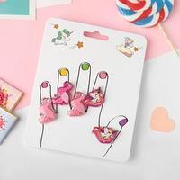 Кольца детские 'Пальчики' (наб. 5шт) фламинго и единороги, форма МИКС, цвет розовый, безразмерные