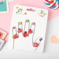 Кольца детские 'Пальчики' (наб. 5шт) божьи коровки и ягодки, форма МИКС, цвет красный, безразмерные
