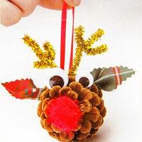 Набор для создания подвесной ёлочной игрушки из шишек 'Оленята', набор 4 шт.