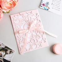 Свадебное приглашение резное 'Кружева', цвет розовый, 11,6 х 12 см