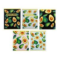 Тетрадь 48 листов в клетку 'Авокадо', белый блок, обложка мелованный картон, МИКС (комплект из 5 шт.)