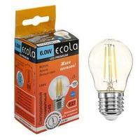 Лампа светодиодная филаментная Ecola globe Premium 'шар', G45, 6 Вт, Е27, 6000 К,360, 220 В