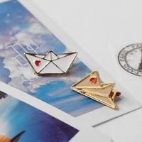 Набор значков (2шт) 'Кораблик и самолёт', цвет красно-белый в золоте