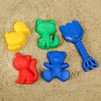 Набор для игры в песке 103 4 формочки, совок с короной, МИКС