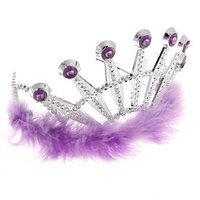 Корона 'Франция', с мехом и камнями, цвет фиолетовый (комплект из 6 шт.)