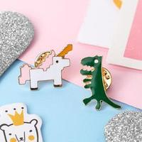 Набор значков 'Мультики' единорог и динозавр, цветные в золоте