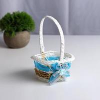 Миниатюра кукольная - корзинка 'Цветочек', цвет голубой