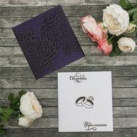 Свадебное приглашение резное, цвет фиолетовый, 27 х 15 см
