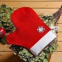 Рукавица банная с аппликацией 'Снежинка', красная