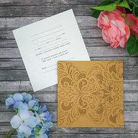 Свадебное приглашение, цвет золотой, резное, 16 х 16 см