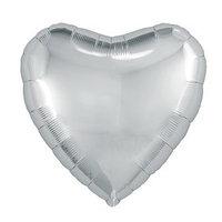 Шар фольгированный 18', сердце, цвет серебряный